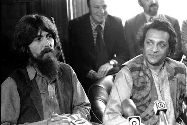 George Harrison and Ravi Shankar speak to reporters about be