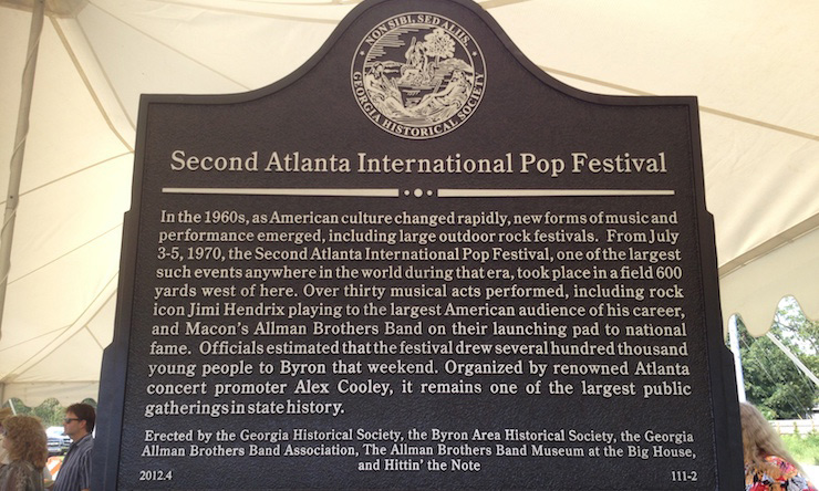 Second Atlanta International-Pop-Festival Historical Marker