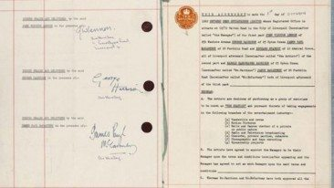 Beatles Contract Sells For £365,000