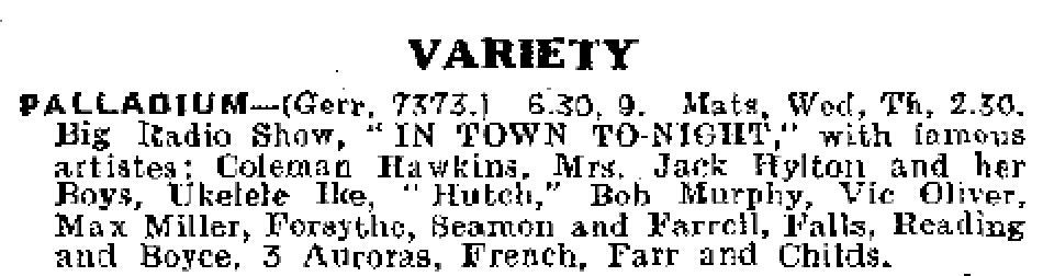 340416 Coleman Hawkins in London