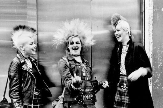 Three punks with mohicans Chelsea Kings Rd London 1970s ® Ted Polhemus, PYMCA