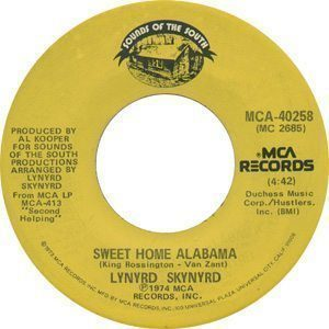 Lynyrd Skynyrd - Sweet Home Alabama Single Label - 300