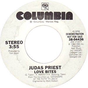 Judas Priest Love Bites Single Label - 300