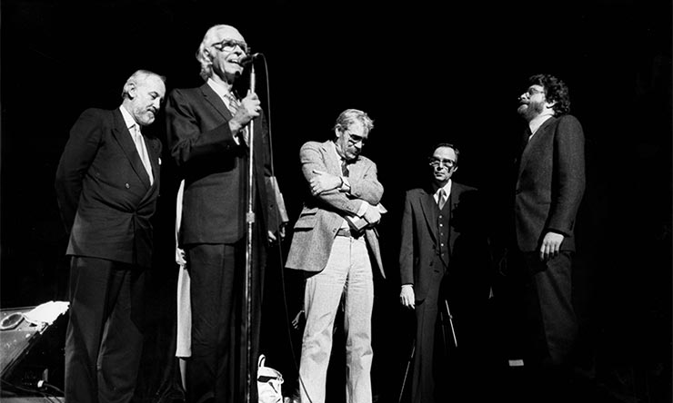 1985 Town Hall reunion concert L-R Bruce Lundvall Alfred Lion Reid Miles Rudy Van Gelder Michael Cuscuna