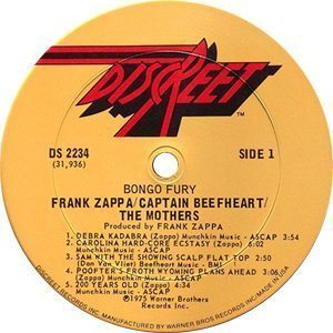 Frank Zappa Bongo Fury Record Label - 300