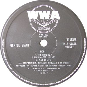Gentle Giant In A Glass House Record Label - 300