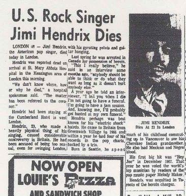 Jimi Hendrix Leaves Us At 27
