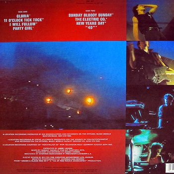 Under A Blood Red Sky U2 back cover