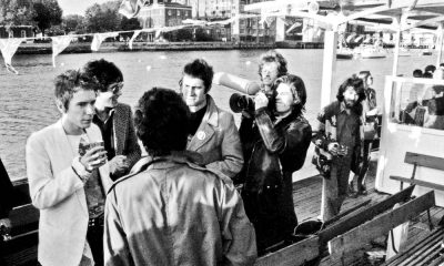 English punk rock group the Sex Pistols aboard the Queen Elizabeth on the River Thames on June 7, 1977 during their Silver Jubilee Boat Trip.