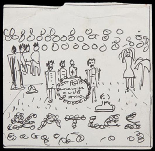 John Lennon S Original Sgt Pepper Album Cover Sketch Set