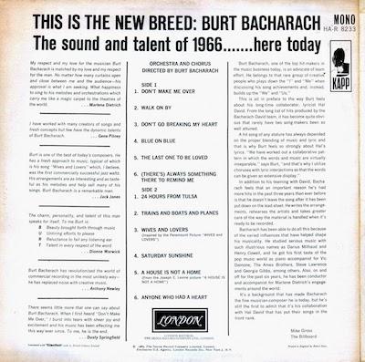Burt Bacharach - Hit Maker MONO Back HQ