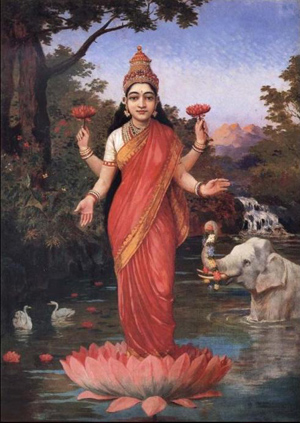 Lakshmi is the Indian goddess of wealth, fortune and prosperity