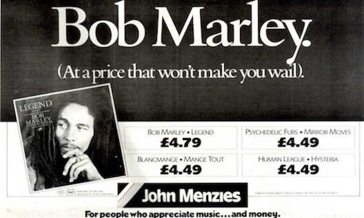 Bob Marley Legend ad