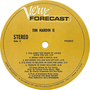 Tim Hardin 2 Record Label