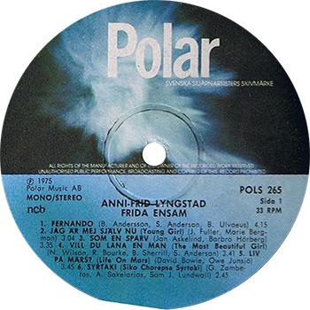 Frida Ensam Album Record Label (ABBA Solo)