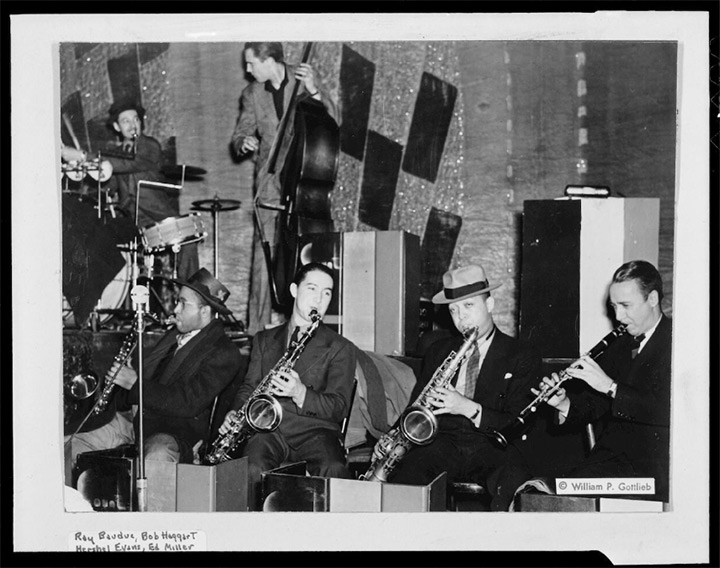 Ray Bauduc, Herschel Evans, Bob Haggart, Eddie Miller, Lester Young and Matty Matlock, playing in Count Basie's band, William Gottlieb