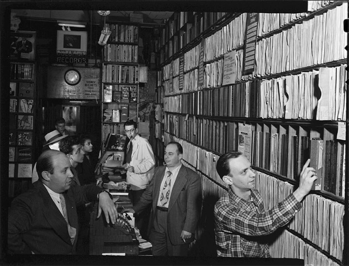 Milt Gabler, Herbie Hill, Lou Blum, and Jack Crystal (Billy Crystal's father) at Gabler's Commodore Record Shop, New York, 1947, William Gottlieb