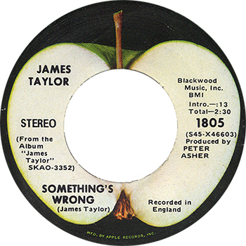 James Taylor Something's Wrong Single Label