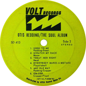 Otis Redding The Soul Album Label Side Two
