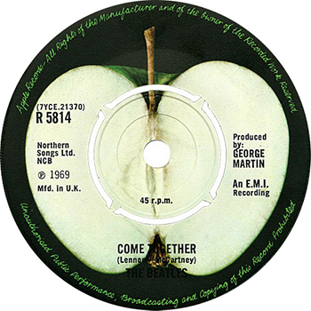 The Beatles Come Together B-side label