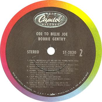 Bobbie Gentry Ode To Billie Joe Record Label