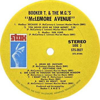 Booker T And The MGs McLemore Avenue Side Two