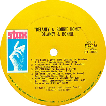 Delaney And Bonnie Home Record Label