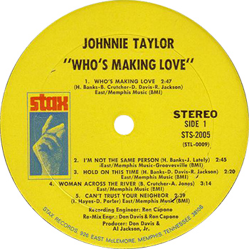 Johnnie Taylor Who's Making Love Record Label web 350