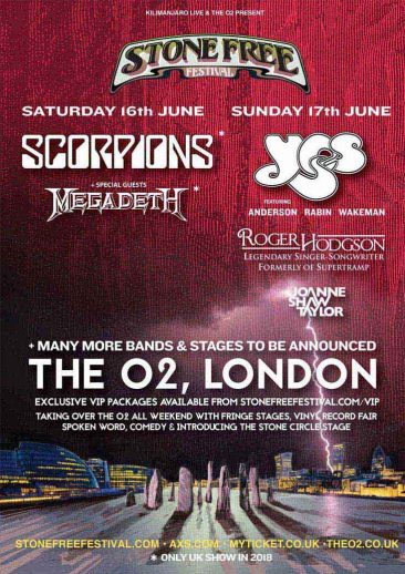 Scorpions, Megadeth Confirmed For 2018 Stone Free Festival
