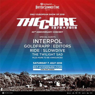 The Cure To Headline 2018 British Summer Time Festival In London's Hyde Park