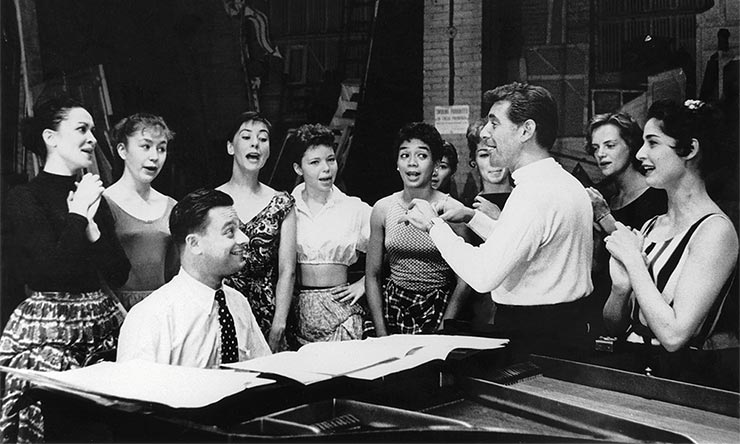 Leonard Bernstein With Cast Of West Side Story
