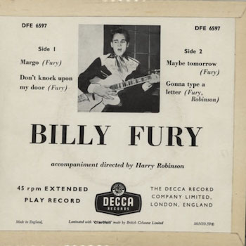 Billy Fury Margo back cover