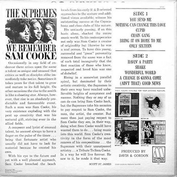 We Remember Sam Cooke back cover Supremes