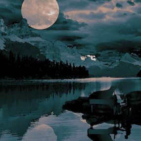 Debussy Clair De Lune - piano in moonlight image