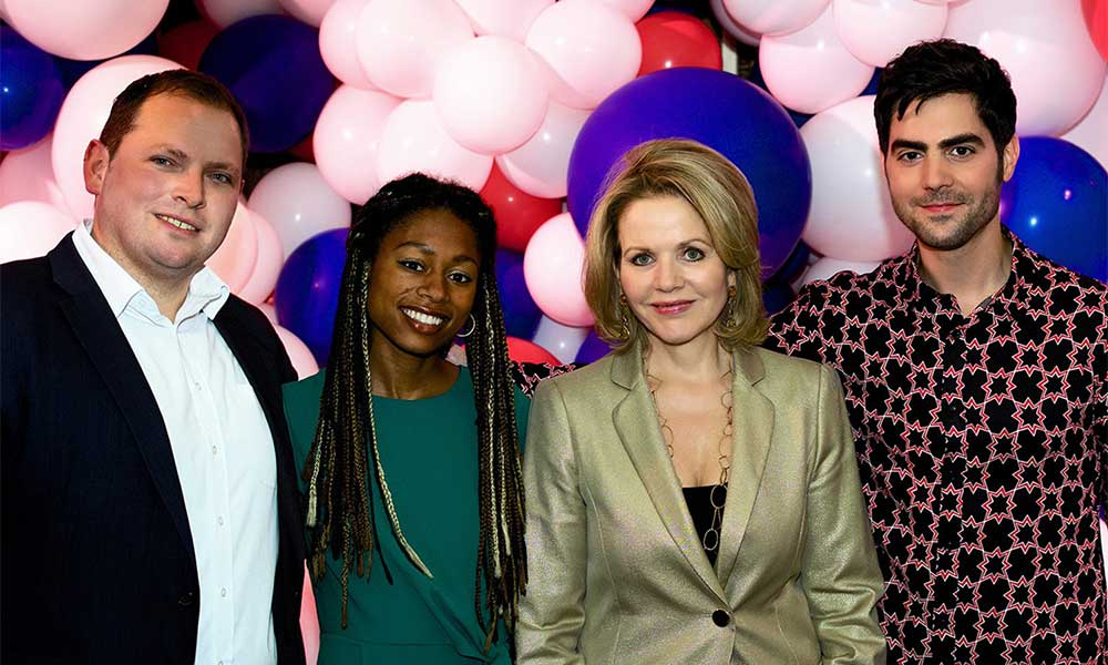 Decca Classics party photo - Dr Alexander Buhr, Isata Kanneh-Mason, Renee Fleming, Milos