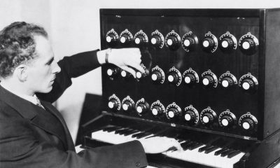 Prof. Theremin with his strange and weird instrument, device, the ether-wave-harmonium