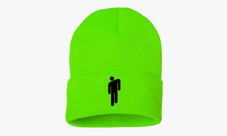 Billie Eilish neon green beanie