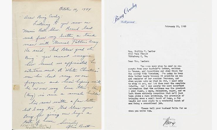 Bing Crosby letters courtesy Decca
