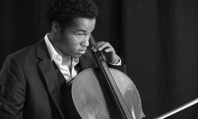 Sheku Kanneh-Mason black and white photo