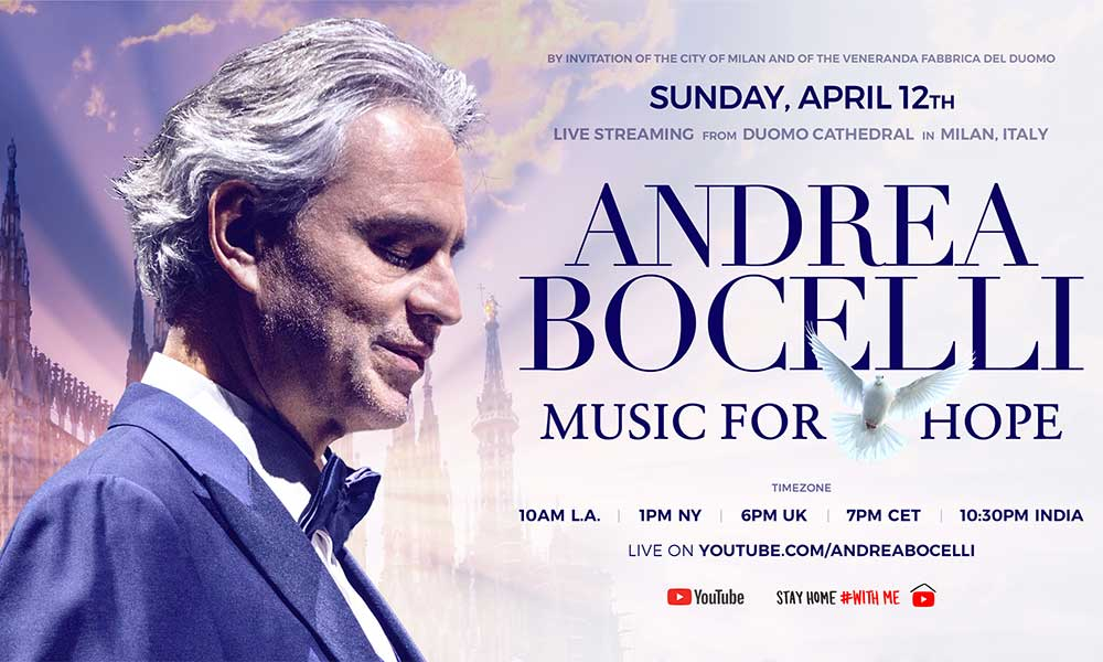 Watch Andrea Bocelli Music For Hope Livestream From Milan S Duomo Cathedral