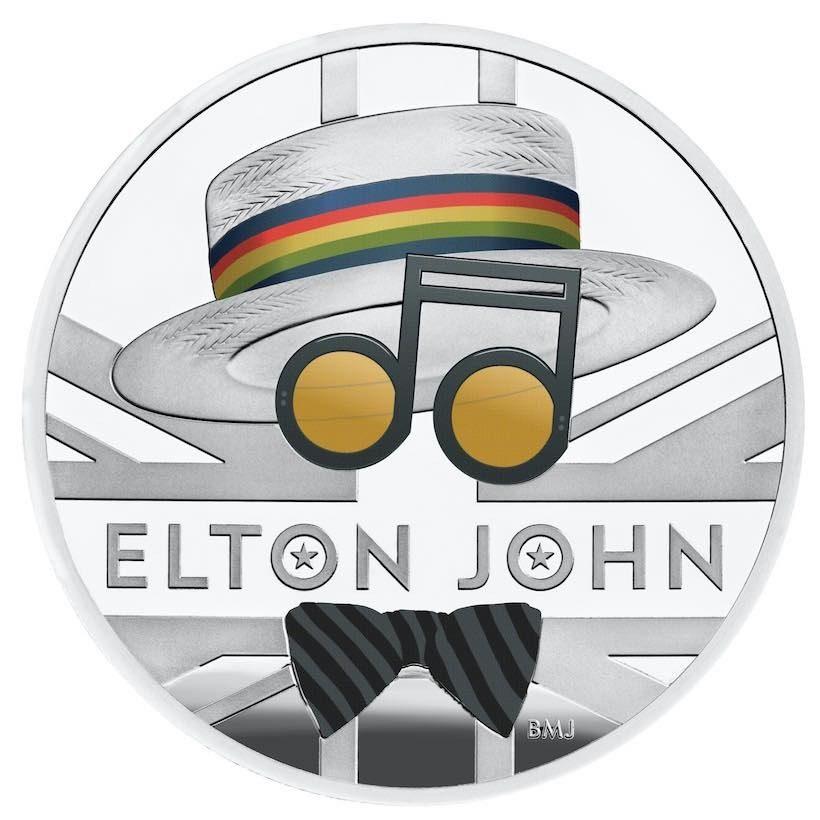 Elton John coin closeup