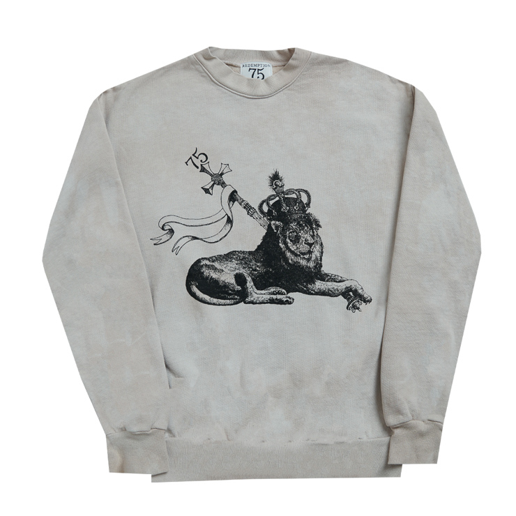 WASHED PRINTED CREW LION SWEATSHIRT
