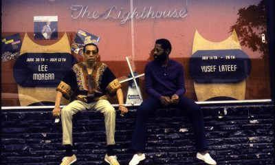 Lee Morgan and Bennie Maupin outside the Lighthouse Cafe, a jazz institution
